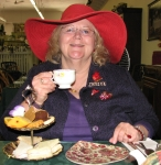 Janice Green Smith enjoying tea.  We had a Red Hat tea party at Pamela's in Santa Paula, CA 09/07.  Oh.............how