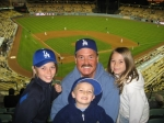 Bill at Dodger game with Caleb, Nathan, and Kiana Bigler - 4/28/08